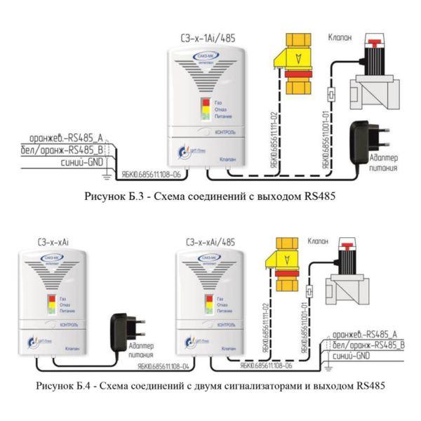 Схемы соединений системы загазованности САКЗ-МК-1Аi